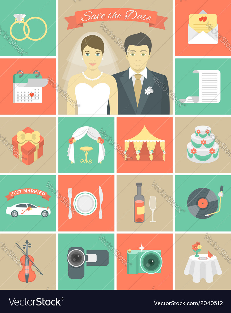 Wedding Icons in Squares