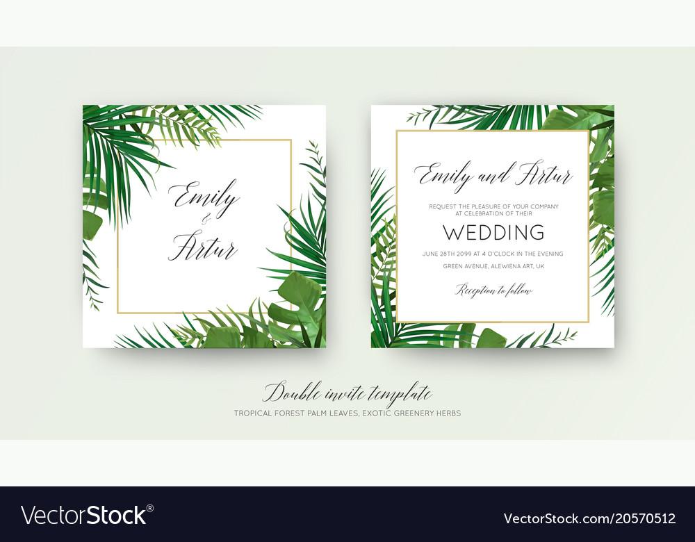 Christmas Greenery Vector.Wedding Tropical Greenery Double Invite Card