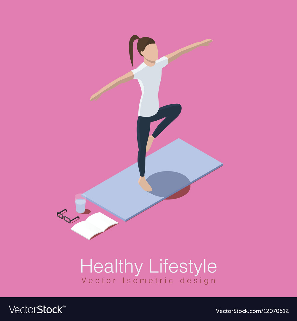 Yoga Healthy Life Scene Royalty Free Vector Image