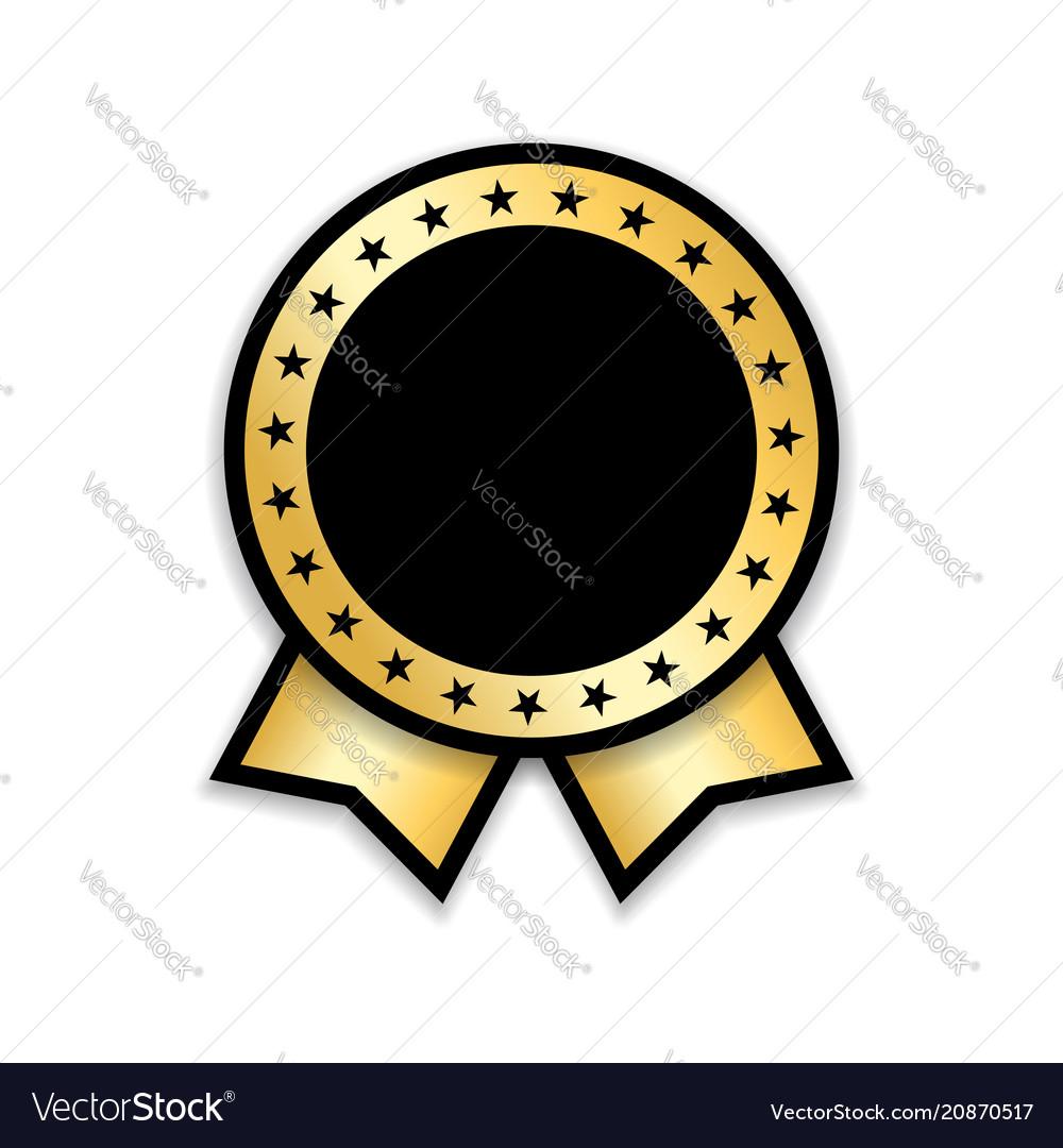 Award ribbon isolated gold design medal label