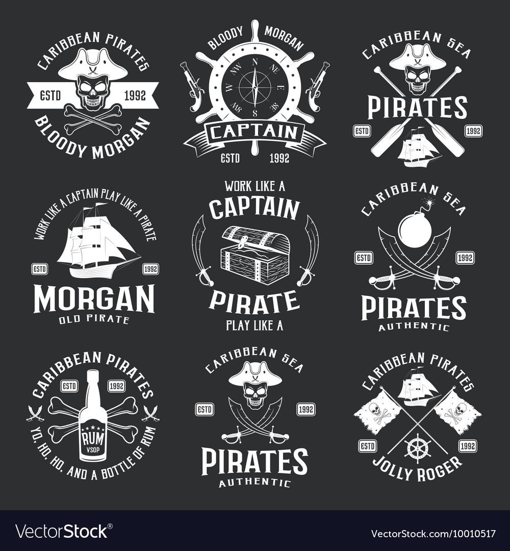 Caribbean Pirates Monochrome Emblems
