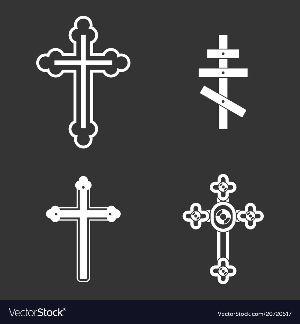 Cross icon set grey vector image