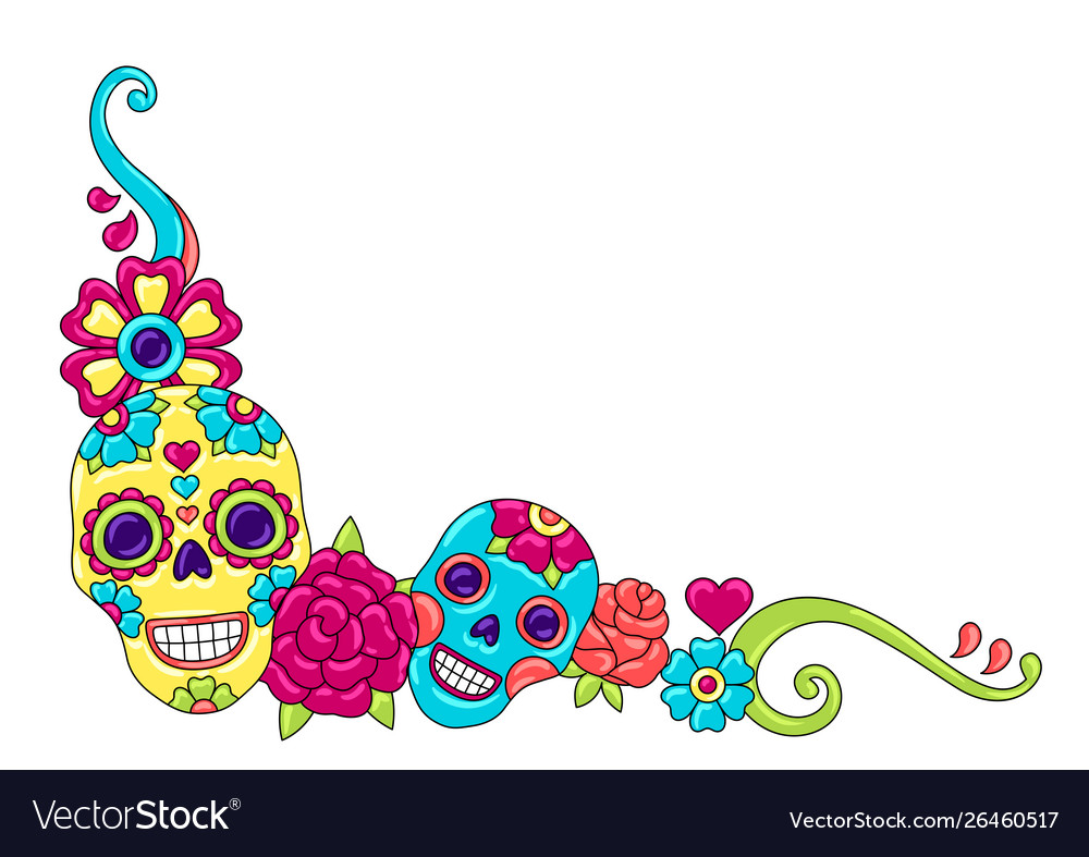 Day dead decoration sugar skulls with
