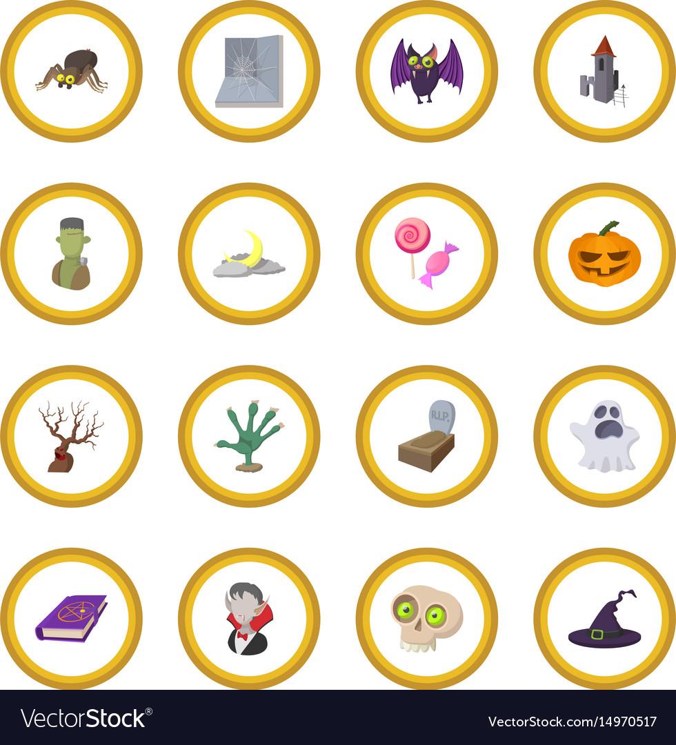 Halloween cartoon icon circle vector image