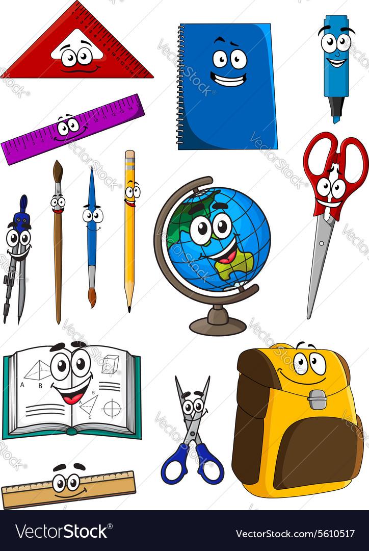 Happy cartoon school supplies characters vector image