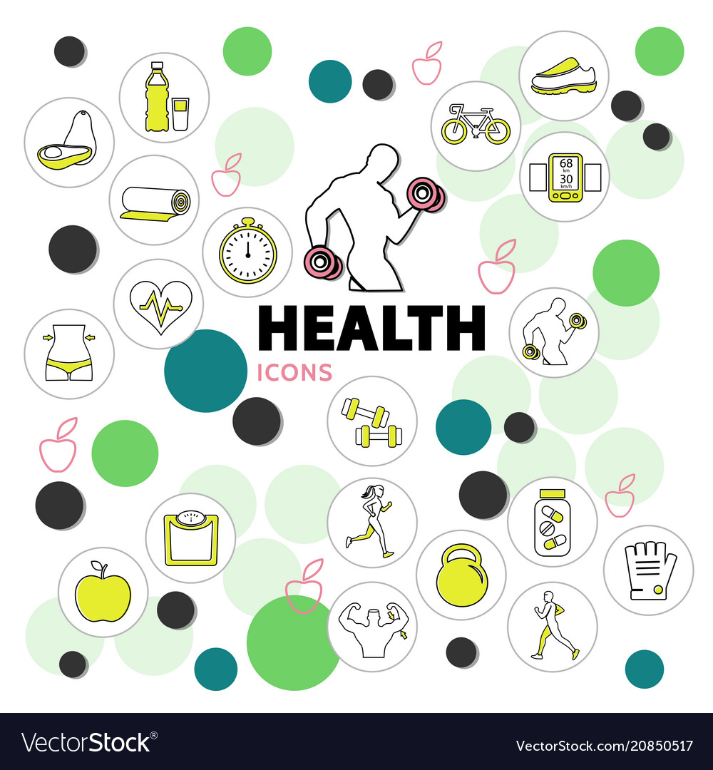 Health line icons set