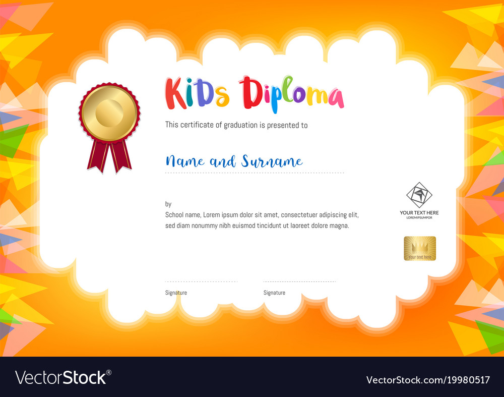 Kids summer camp diploma or certificate template