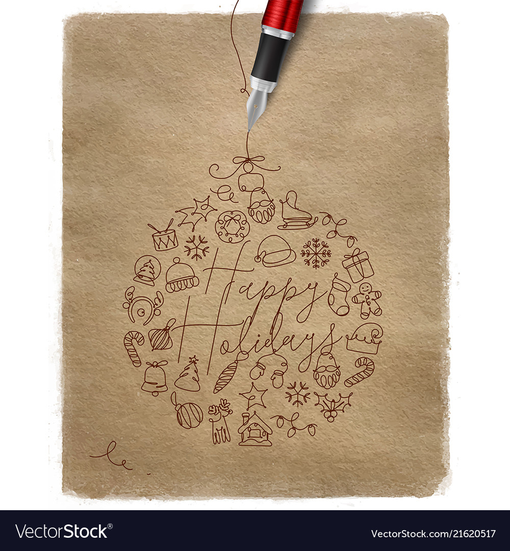 Pen line drawing christmas tree toy ball kraft