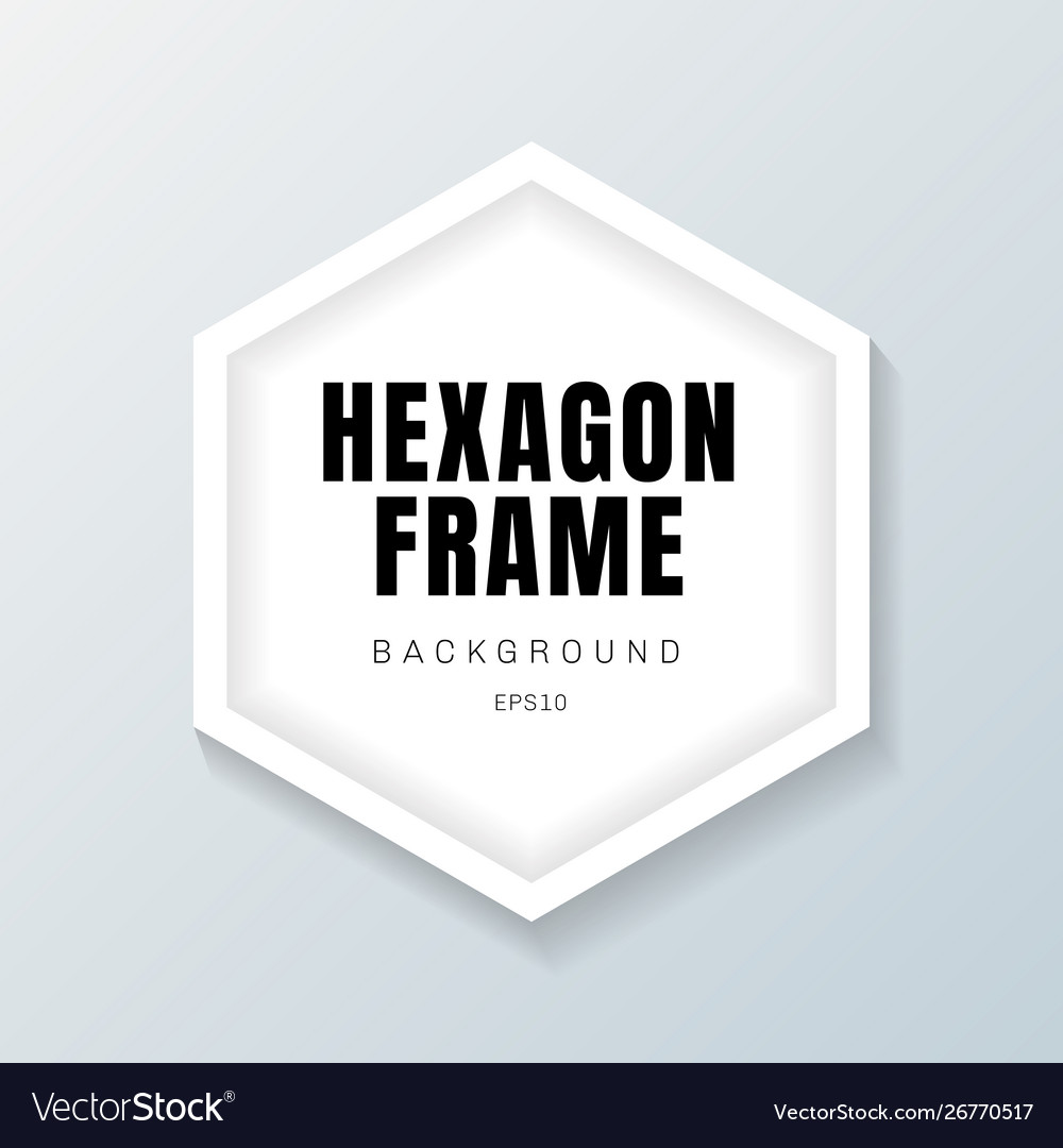 Realistic white hexagon frame mockup on gray