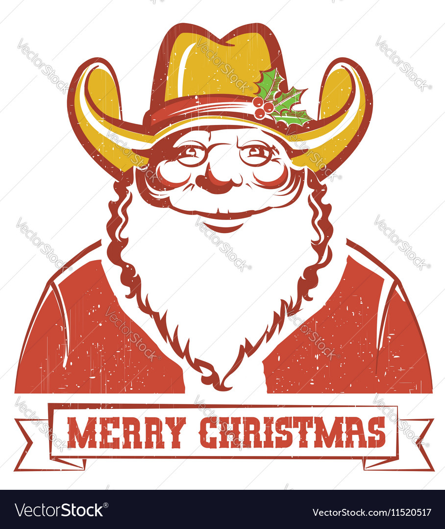 3a1295b960fe7 Santa Claus in cowboy hat on old paper with text Vector Image