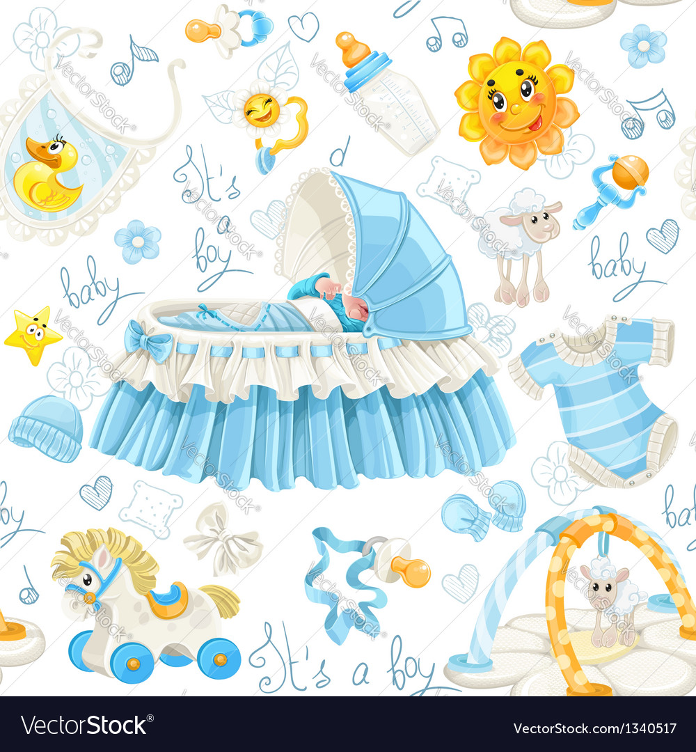 Seamless pattern of cribs toys and stuff its a boy