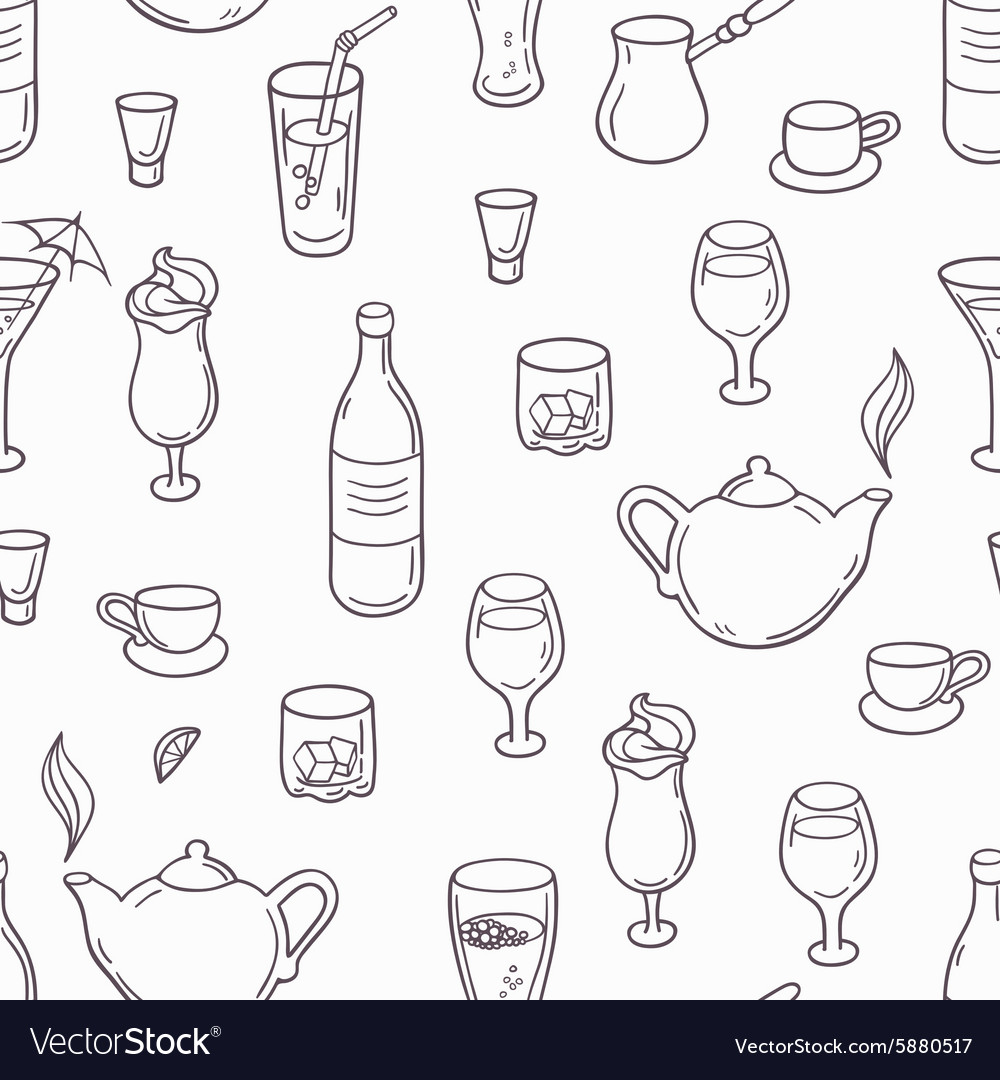 Seamless pattern with outline style drinks vector image