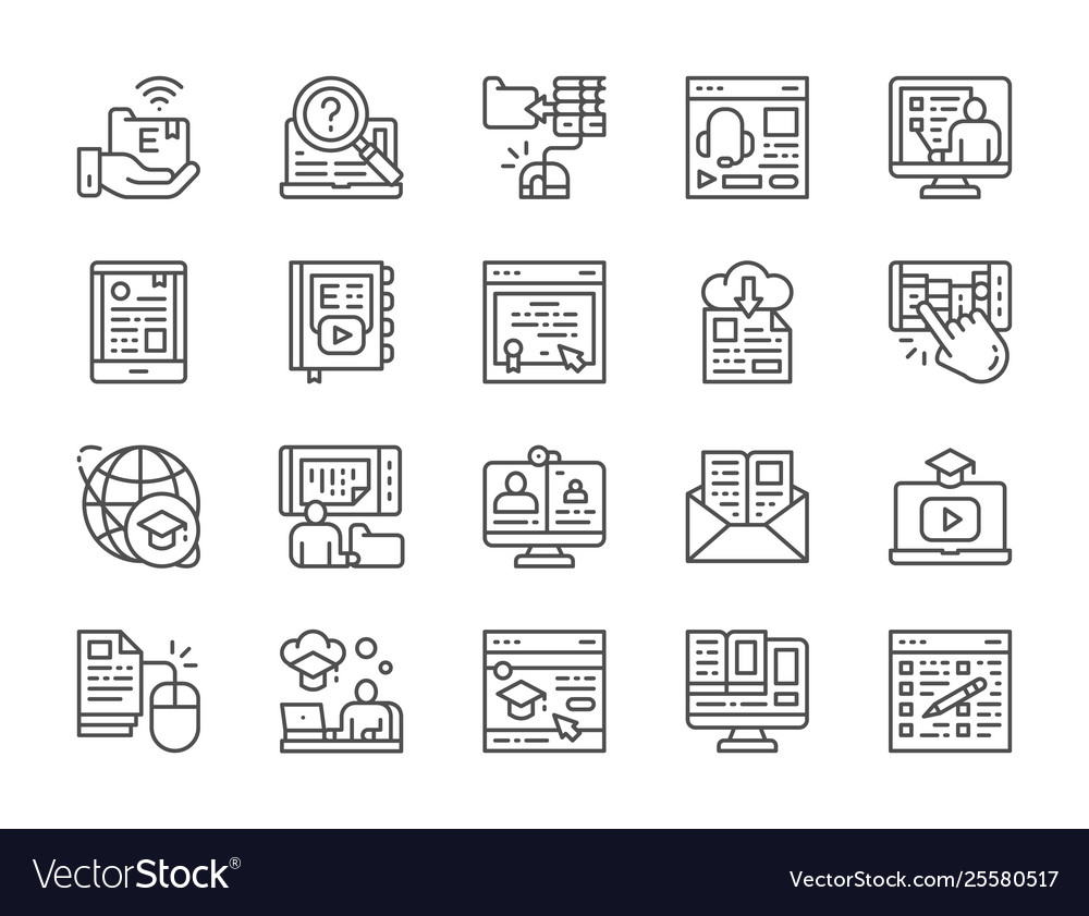 Set online education line icons diploma