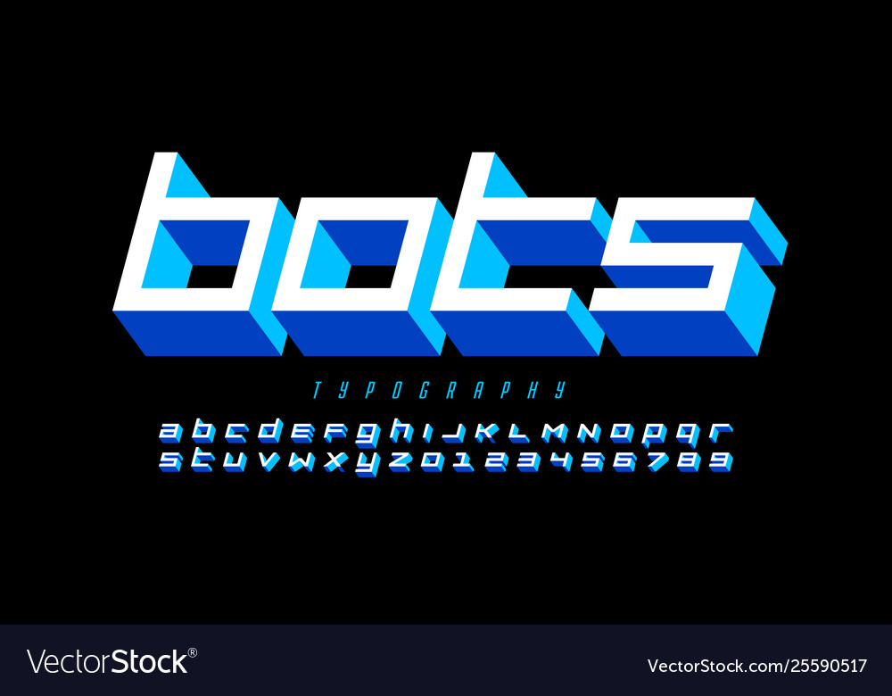 Tech style font design alphabet letters and