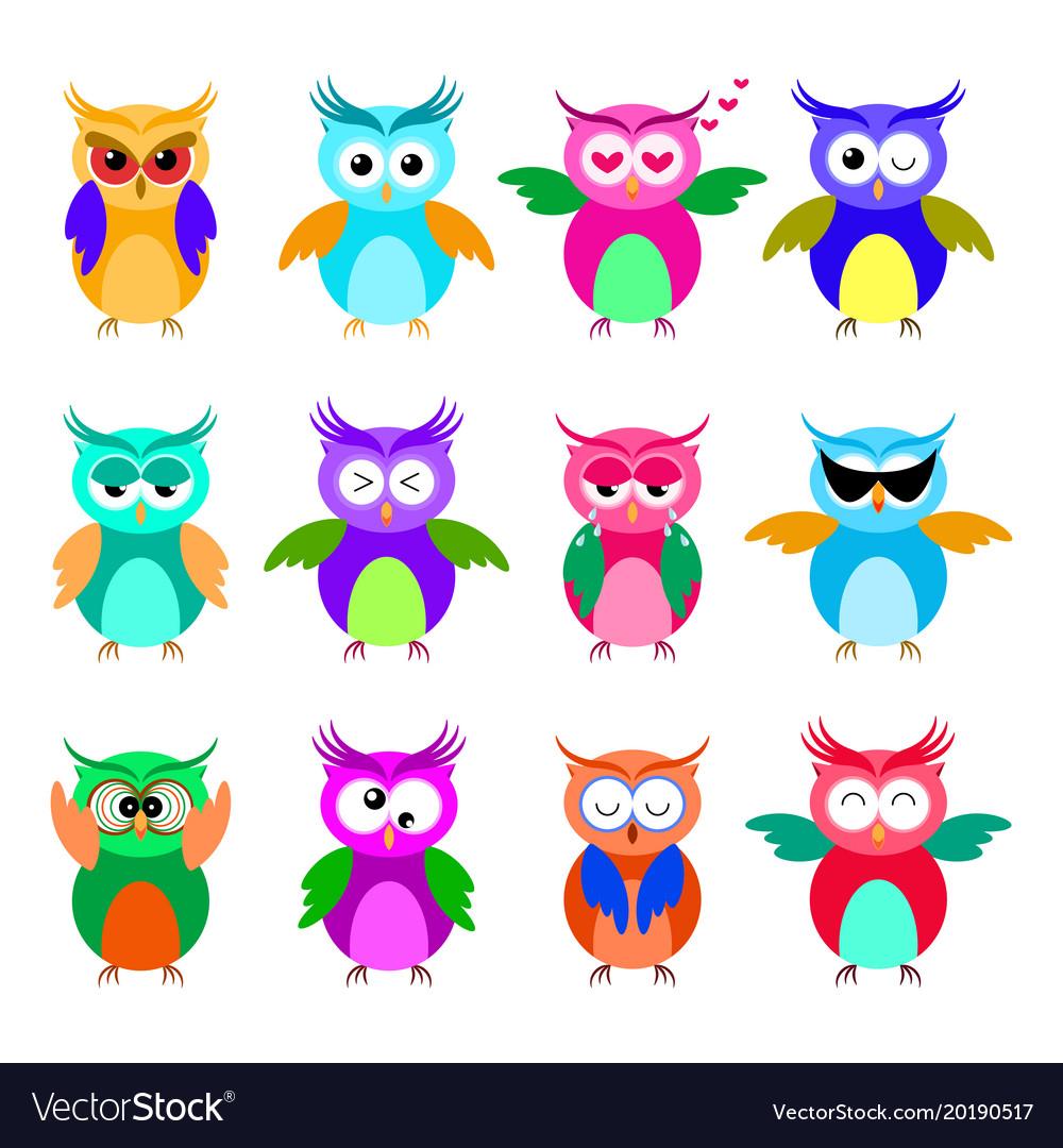 Various cartoon owl emoticon set
