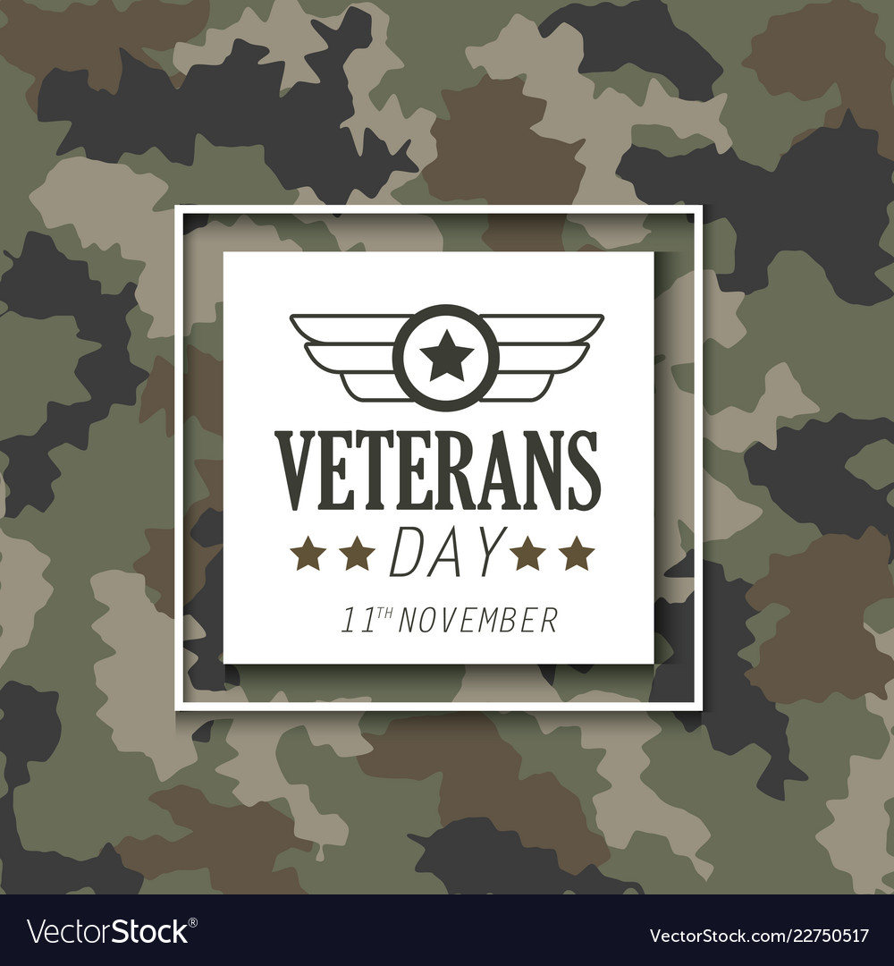 Veterans day with emblem over military cloth