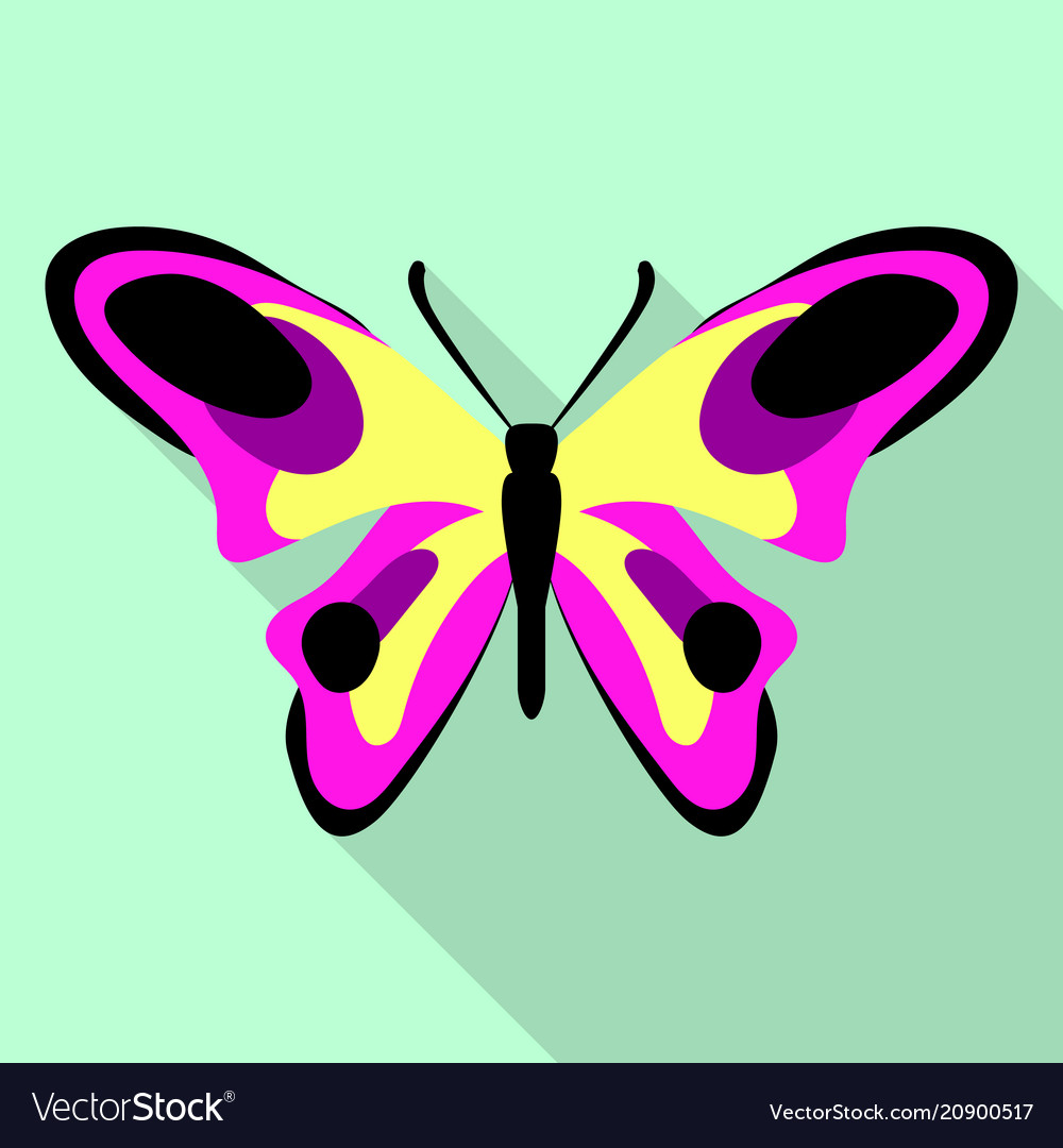Yellow pink butterfly icon flat style