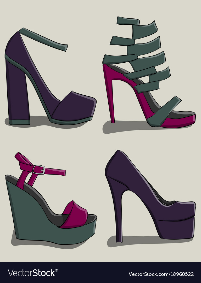 A set of summer female shoes with high heels in