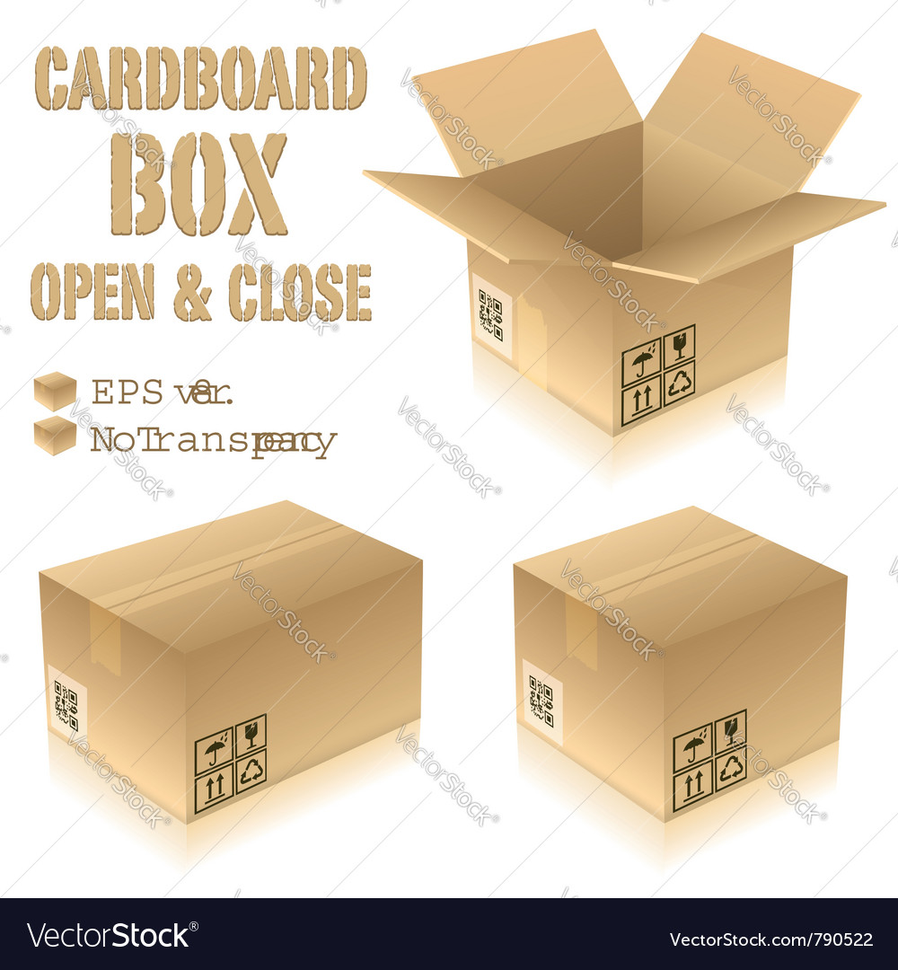 Cardboard boxes with icons vector image