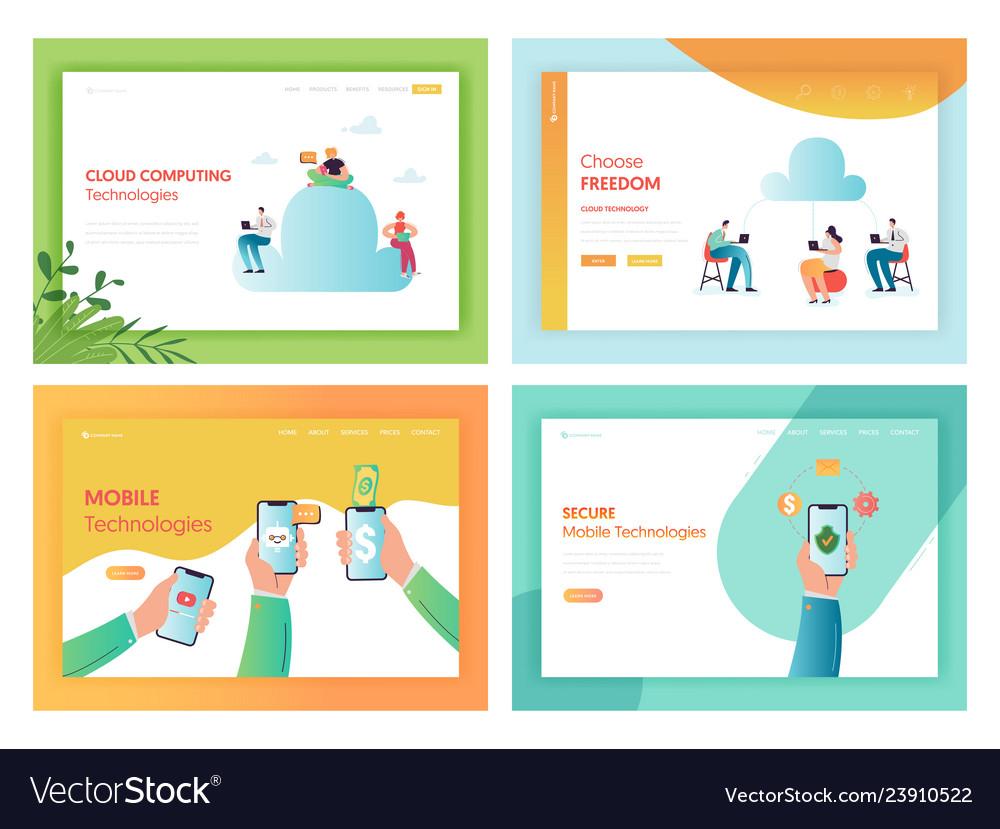 Cloud storage mobile technologies concept web page