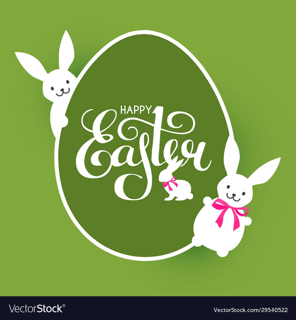 Happy easter label with lettering egg and bunny
