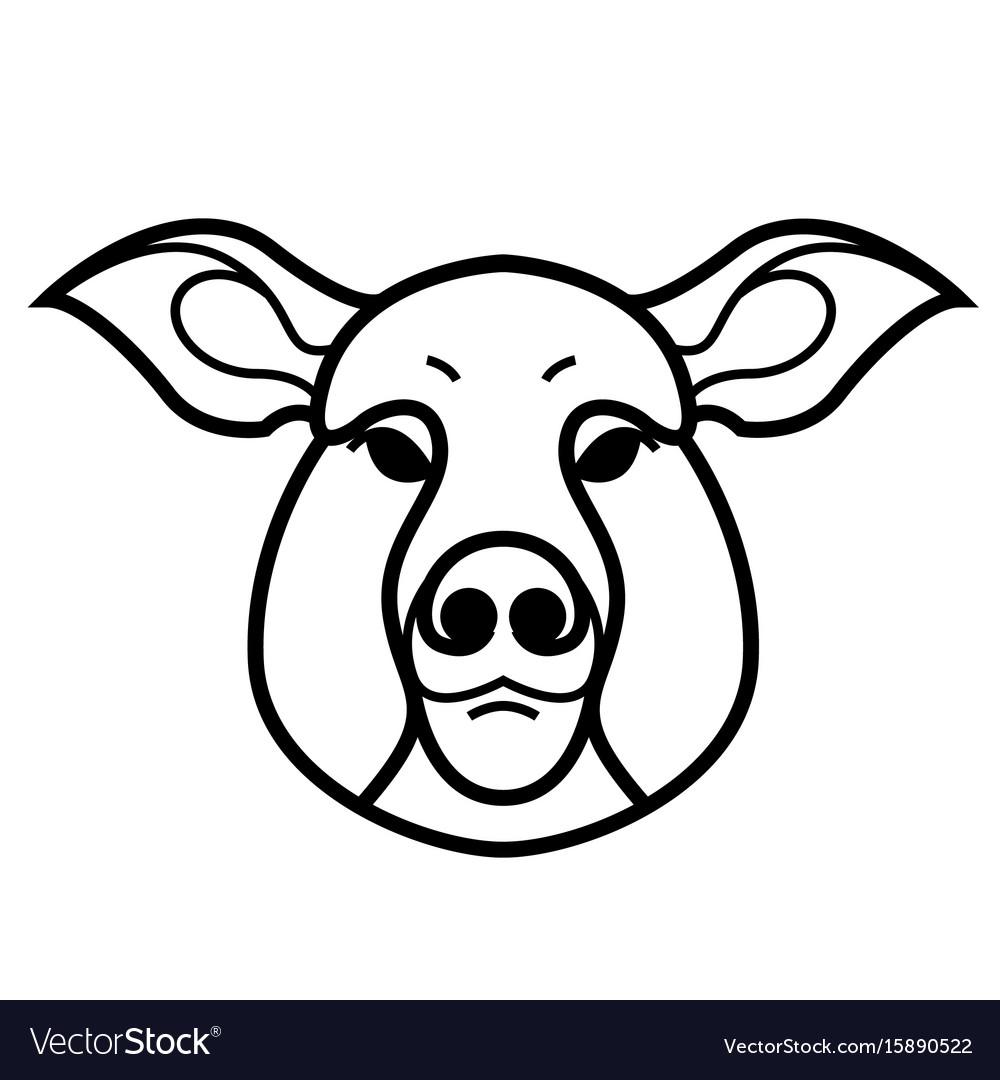 Linear stylized drawing of pig swine