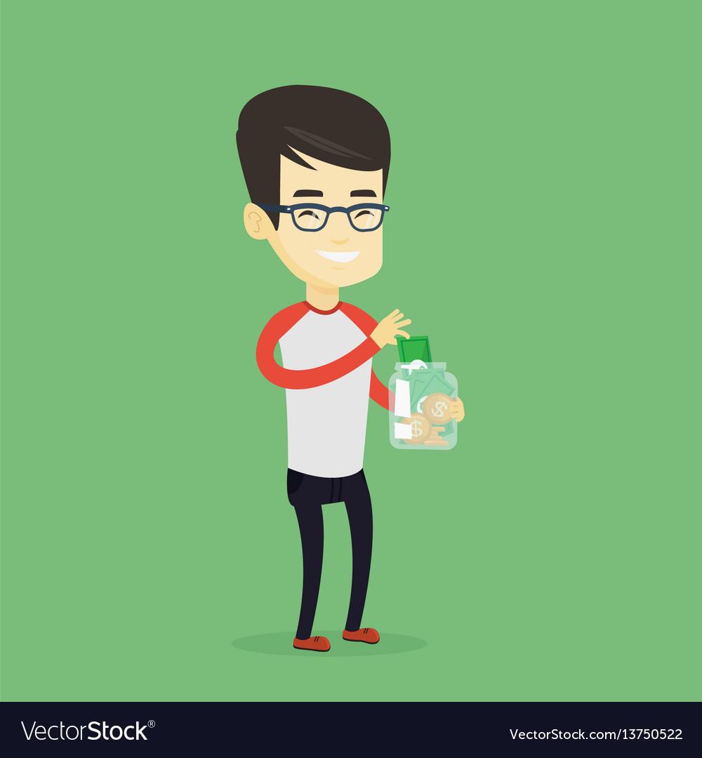 Man putting dollar money into glass jar