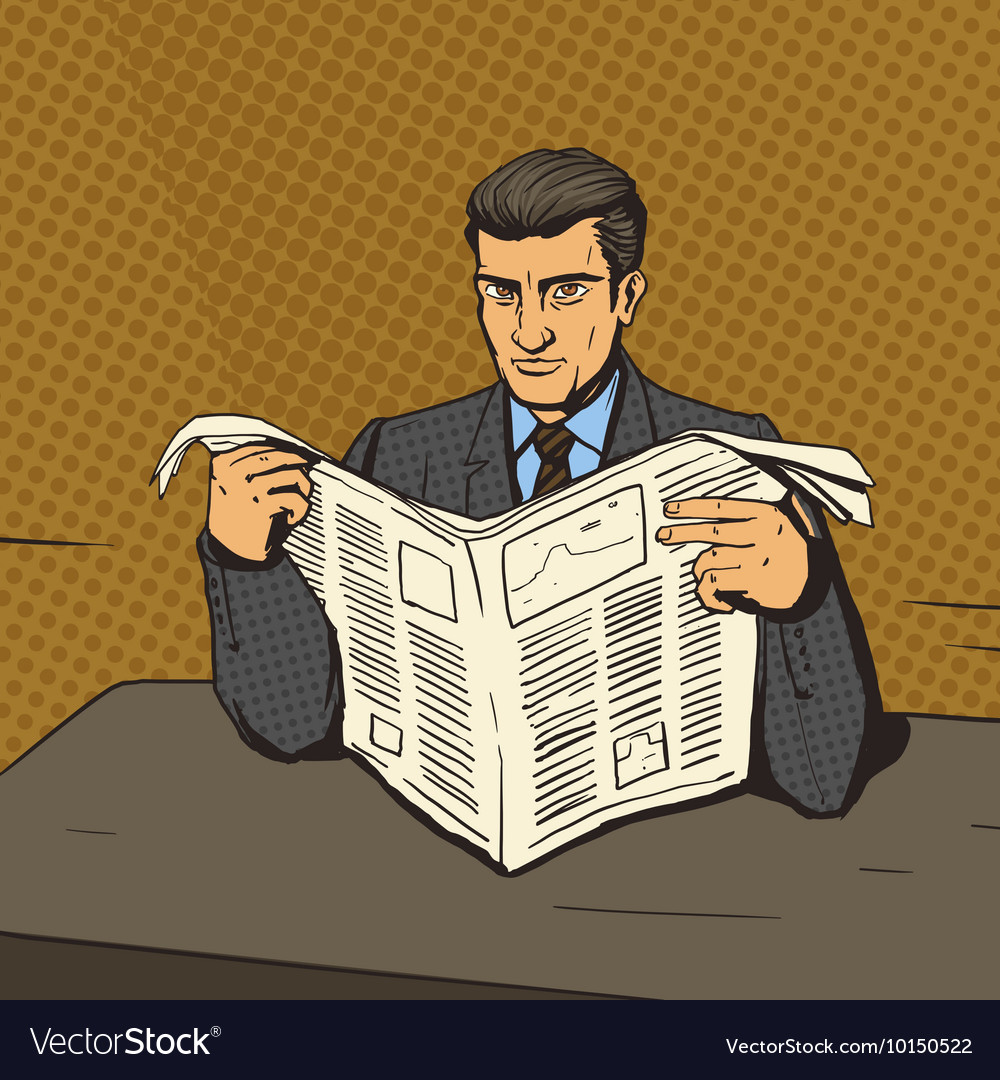man reading newspaper pop art royalty free vector image