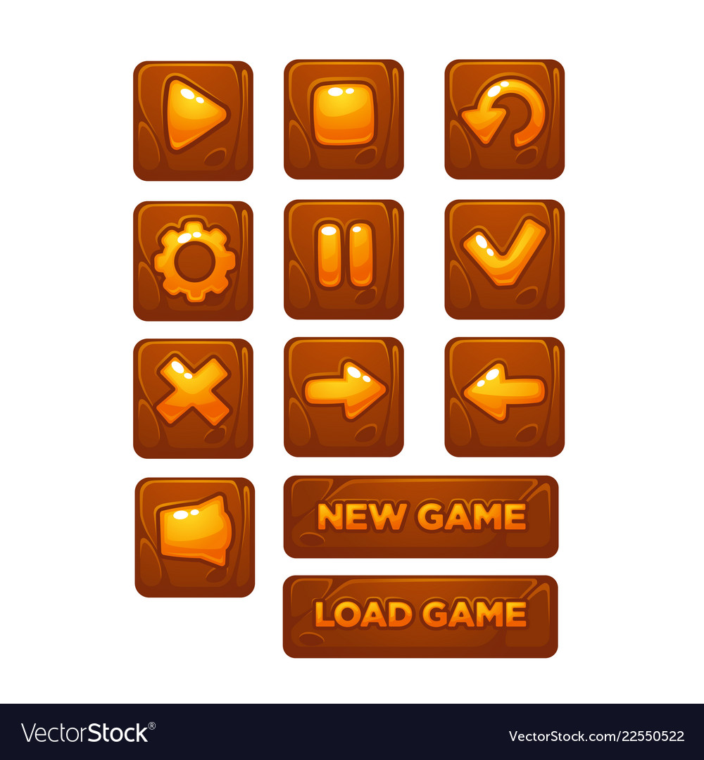 Mobile game ui collection icons and buttons