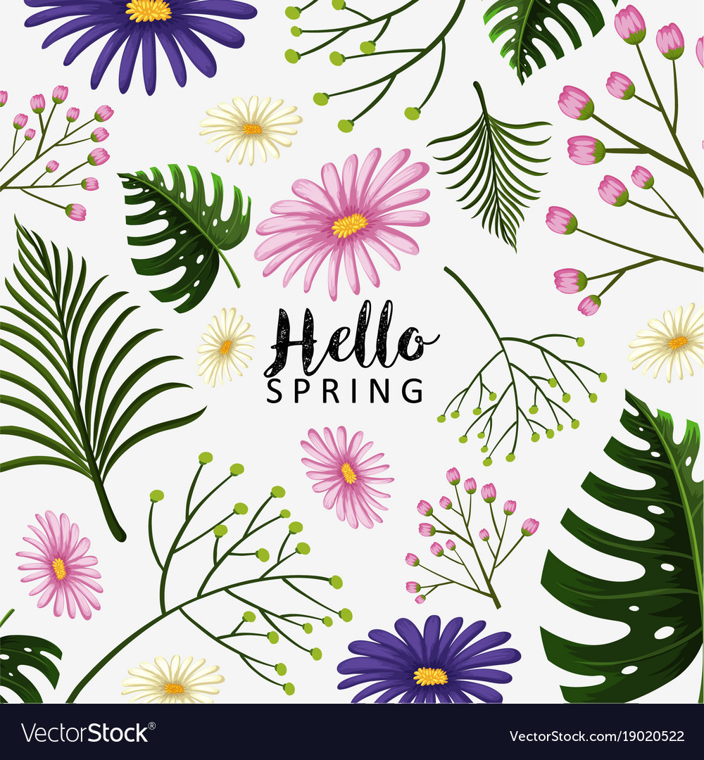 Spring Theme With Blue And Pink Flowers Royalty Free Vector