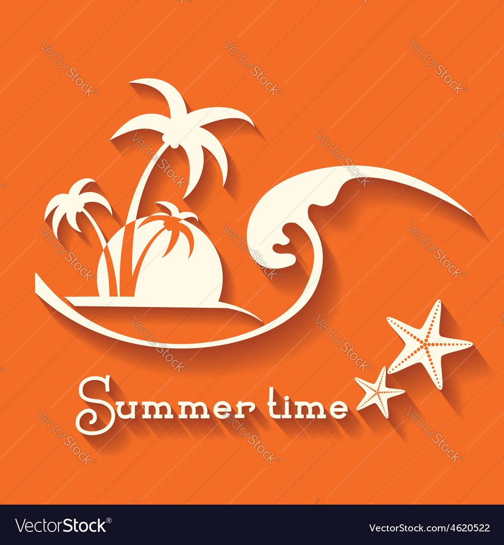 Summer time image with sea wave and tropical palm