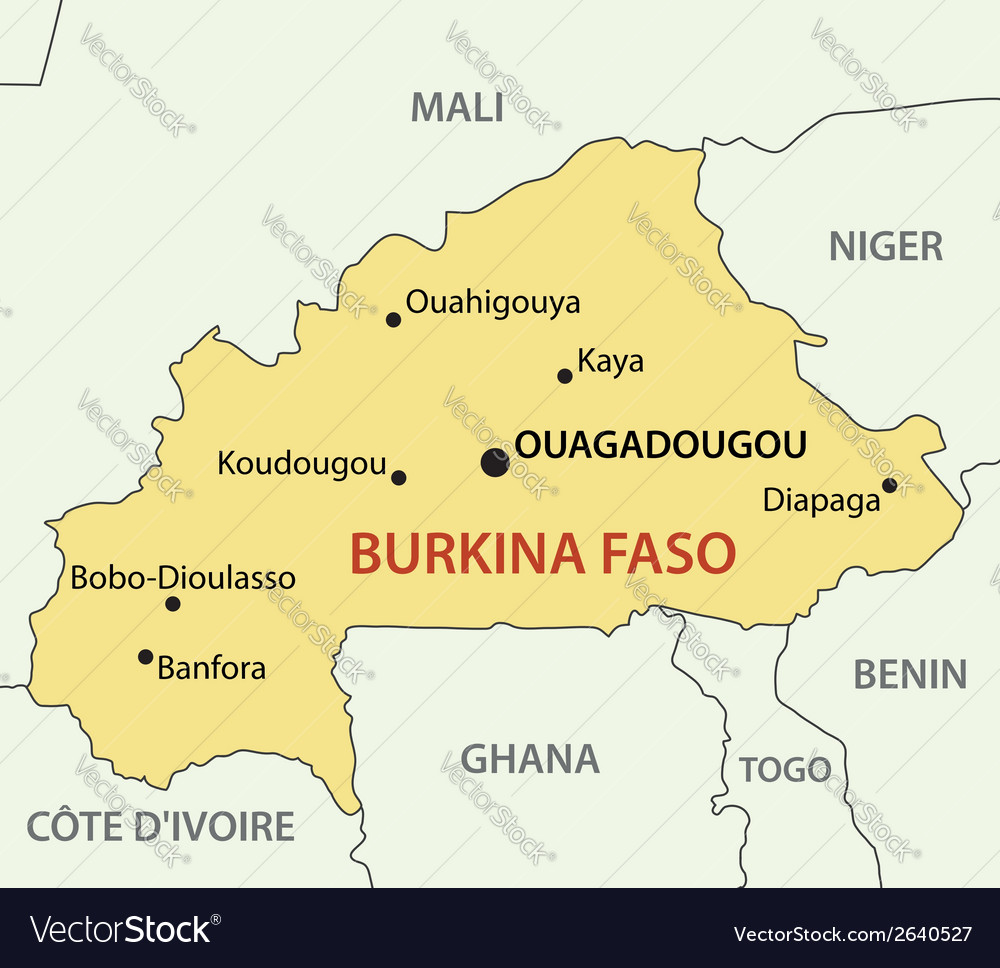 Burkina Faso - map Royalty Free Vector Image - VectorStock