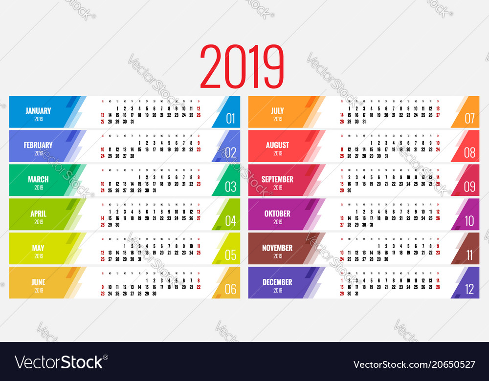 Calendar Design Ideas Vector : Calendar for year design print royalty free vector
