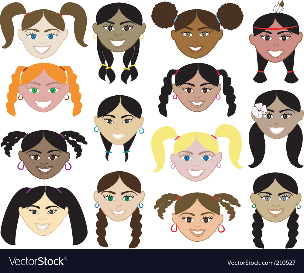 girls faces royalty free vector image vectorstock