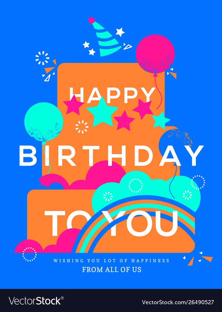 Happy birthday cake birthday card design template