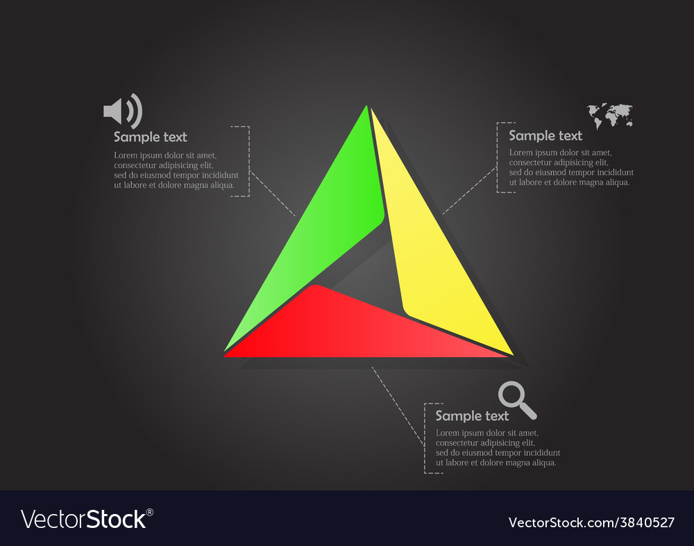 Infographic with main triangle consists smaller