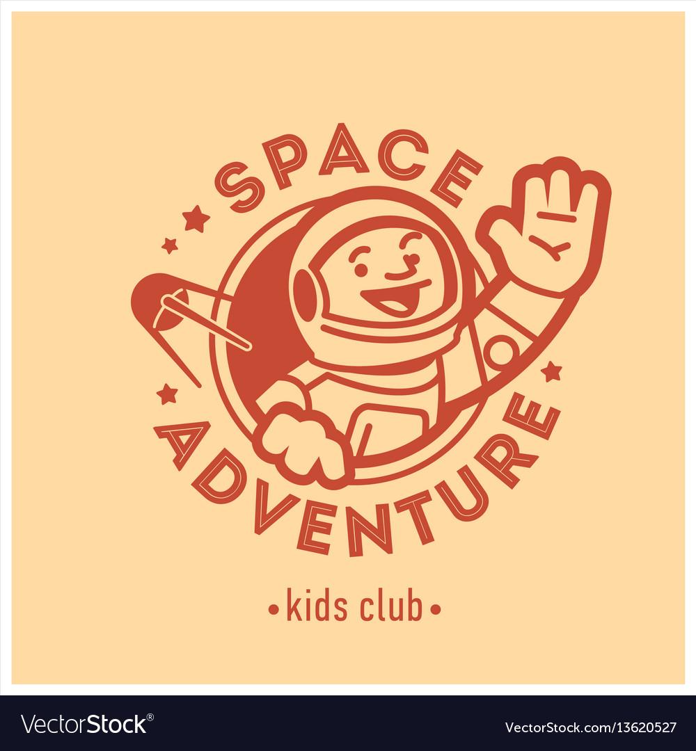 Kids club logo with happy astronaut cute