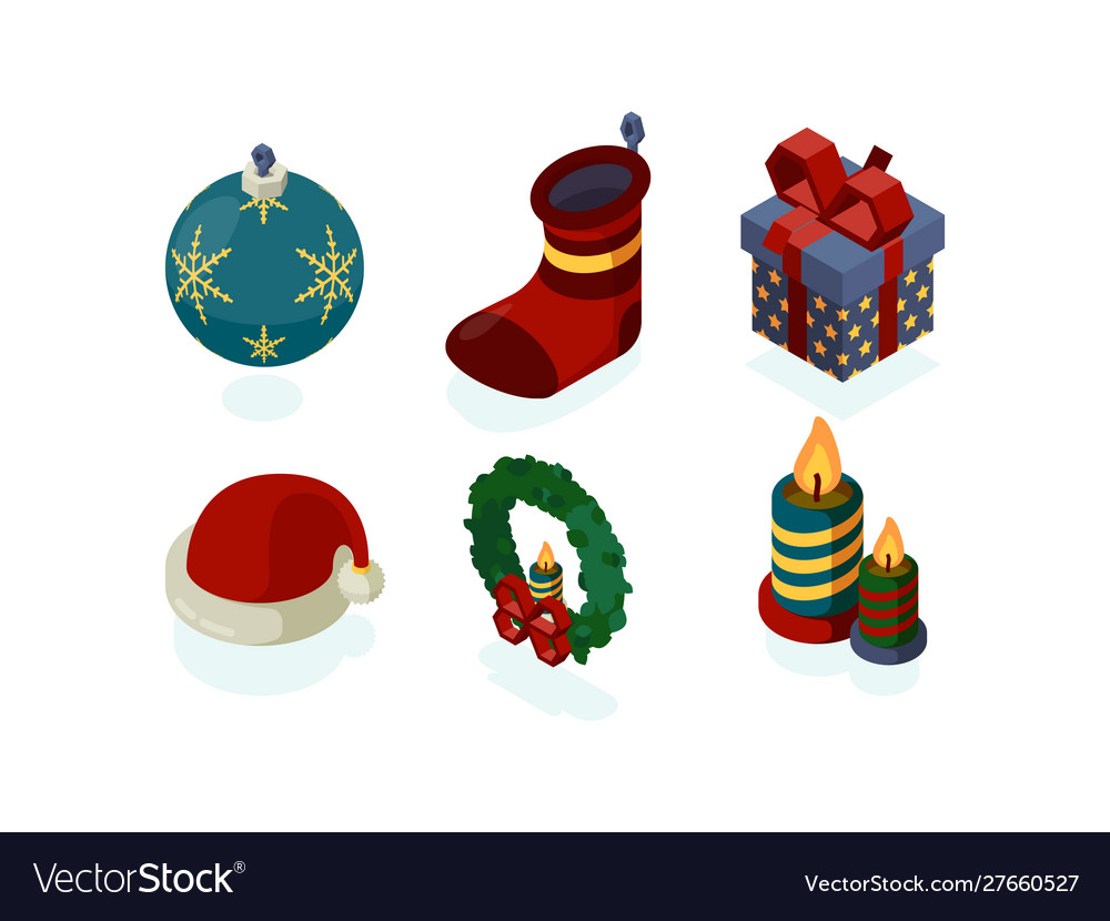 New year icons xmas accessories gifts tree