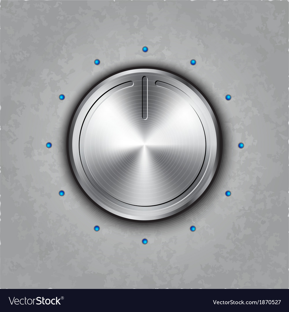 Round metal power button vector image