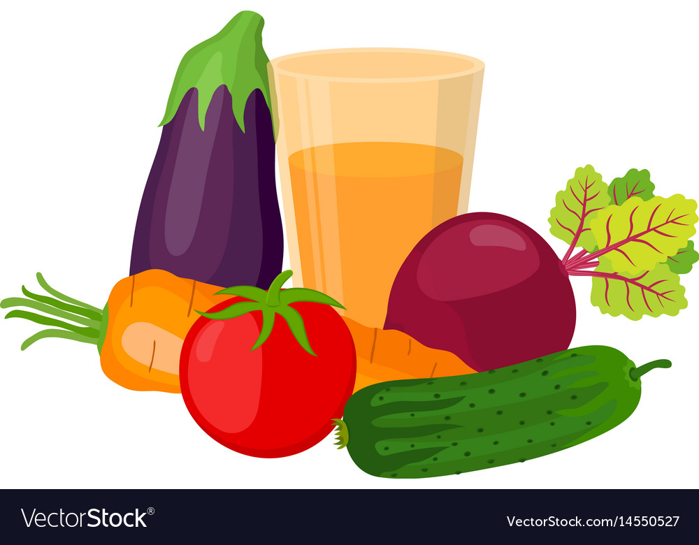 Set of vegetables juice made in cartoon style