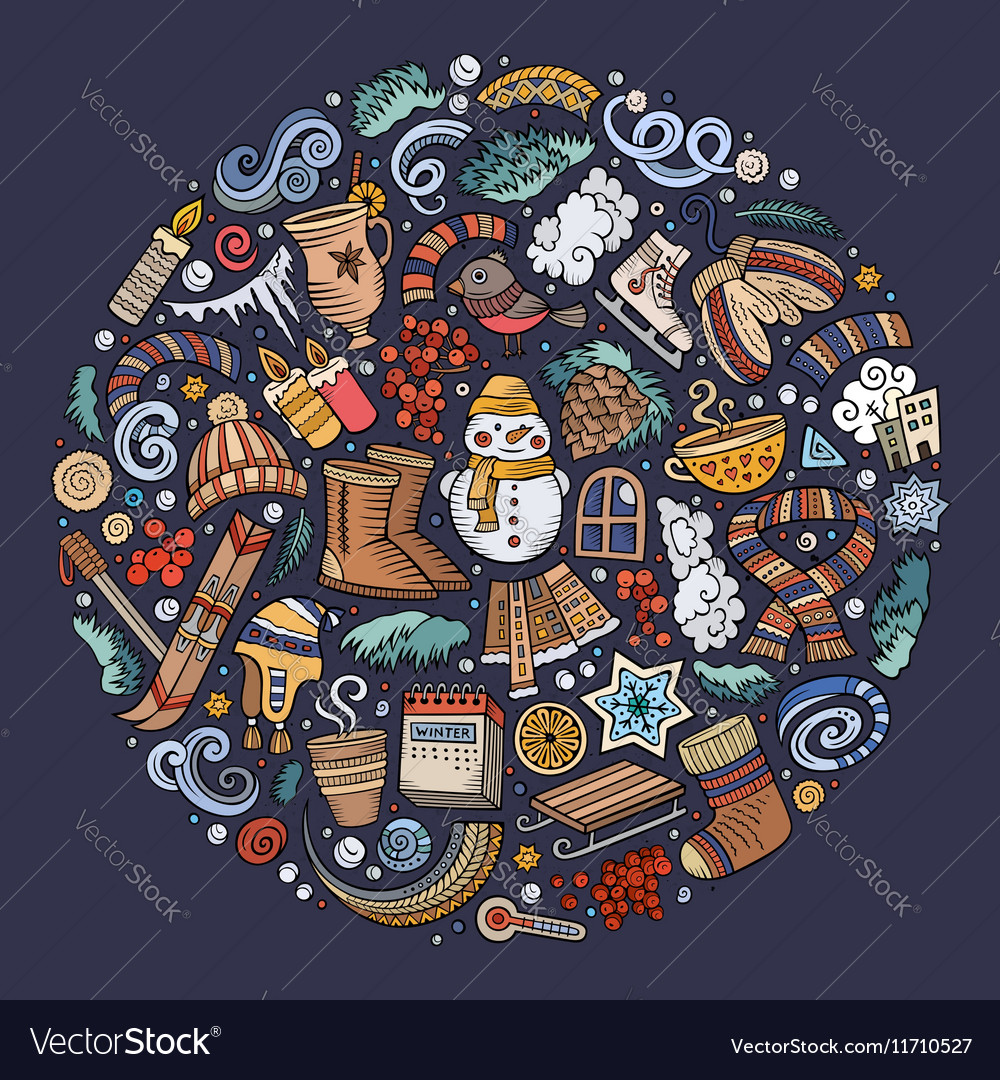 Set of Winter cartoon doodle objects symbols and