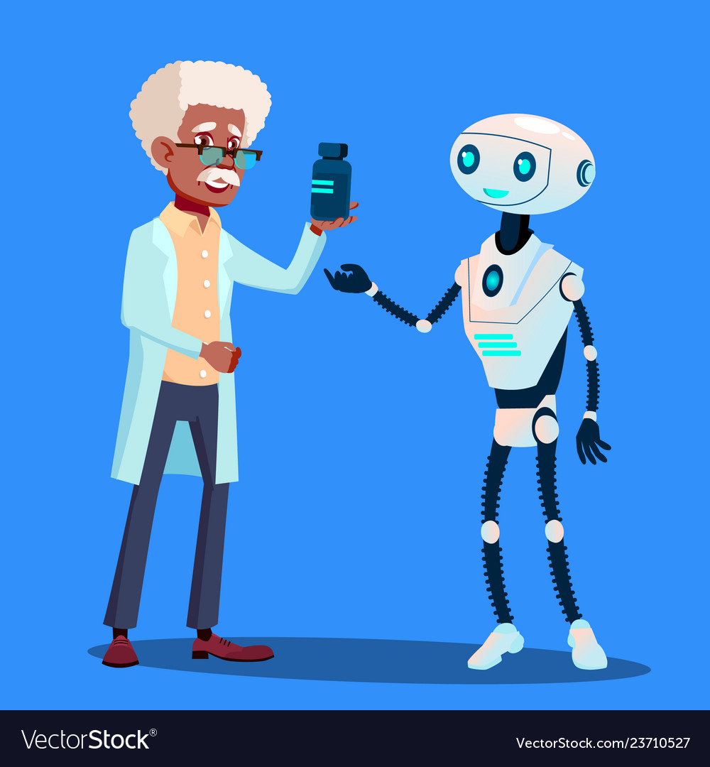 Smart robot visiting doctor isolated