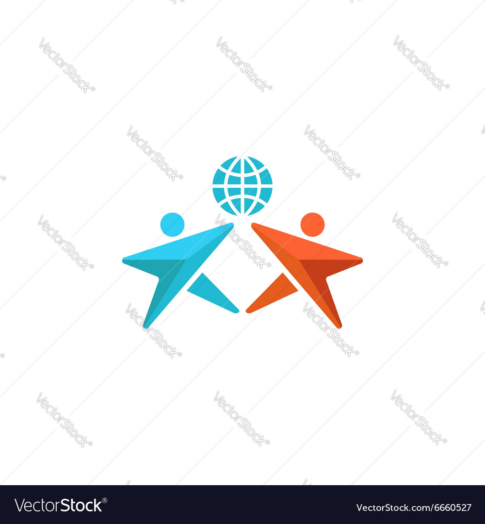 Two man logo globe hands up together people