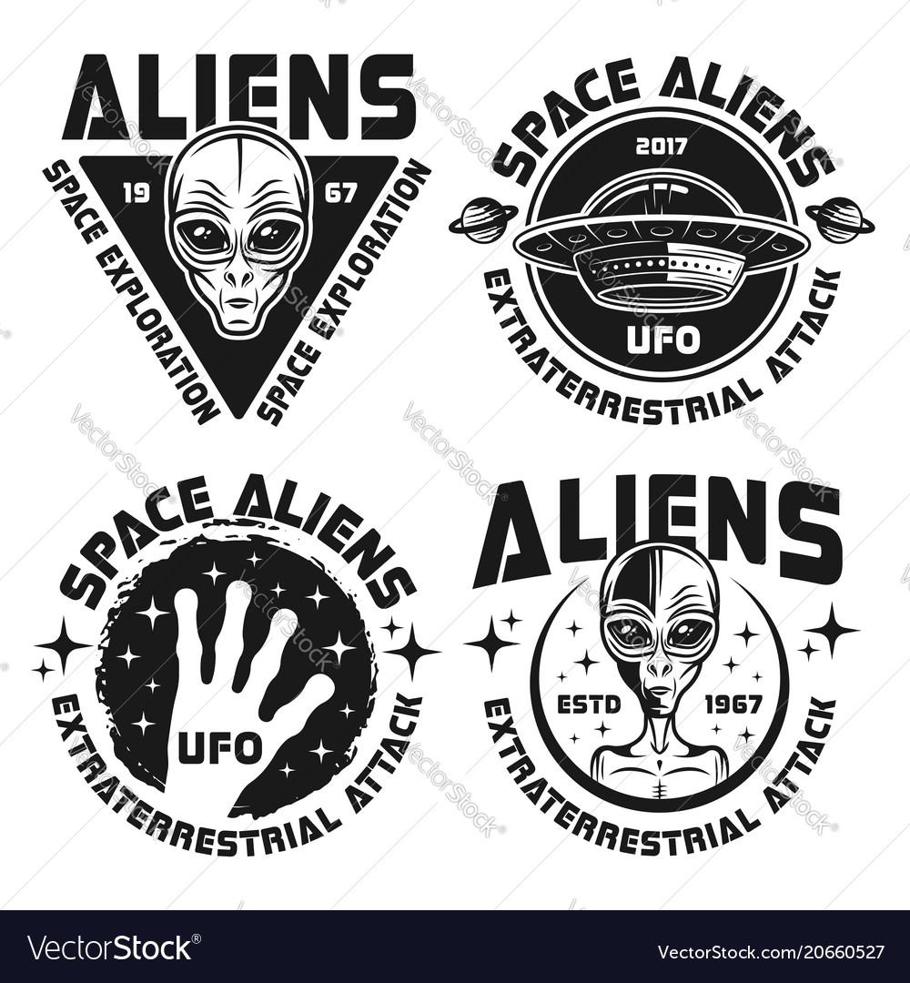 Ufo and aliens emblems labels badges
