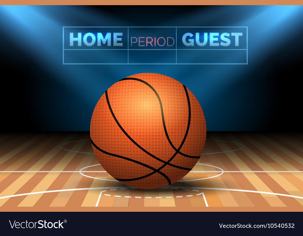 Basketball court with ball vector image
