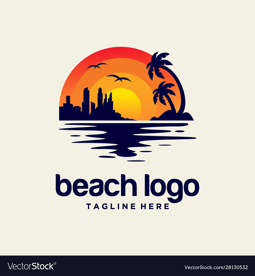 Beach sunset logo design
