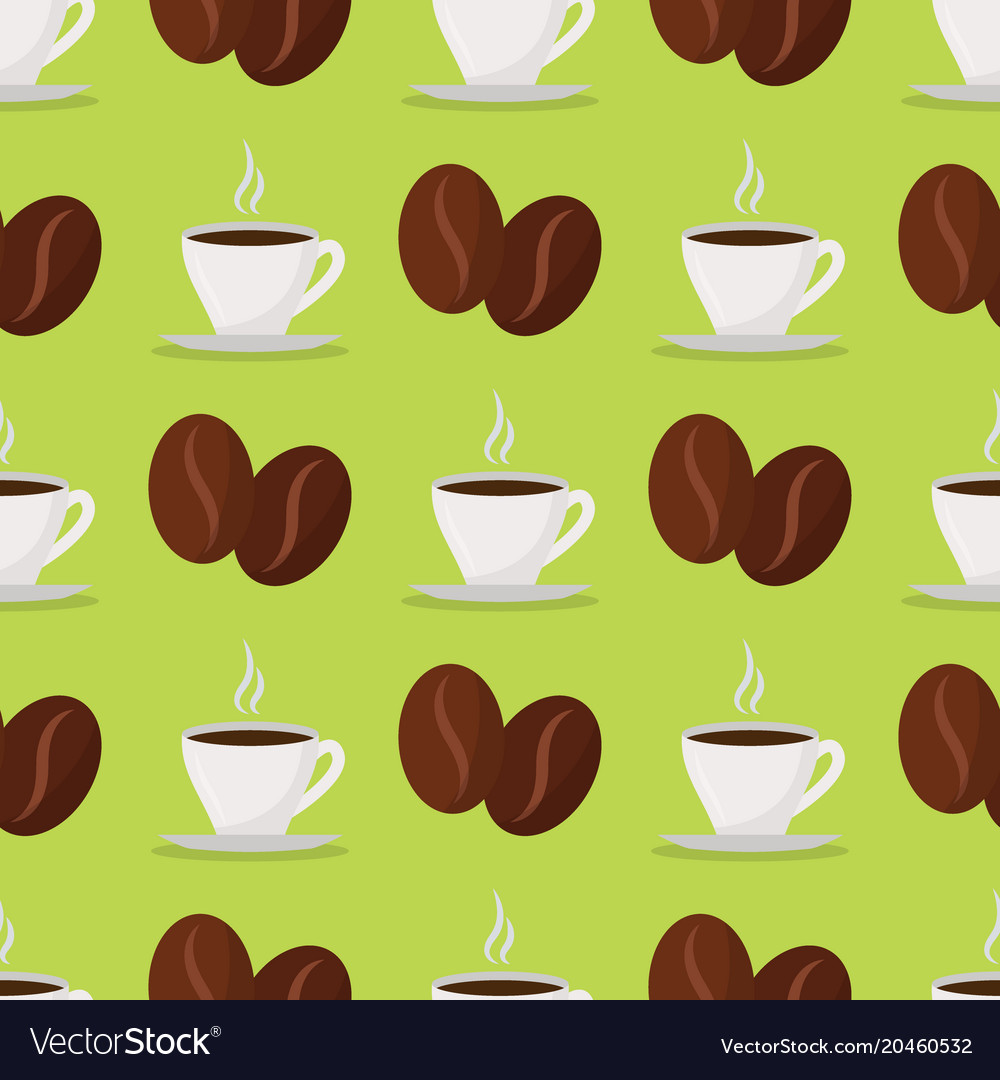 Coffee cups beans drink seamless pattern