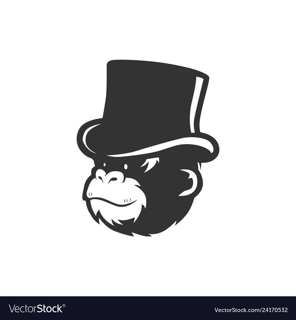 7988a58d366f5 Monkey chimp wearing bucket hat logo Royalty Free Vector