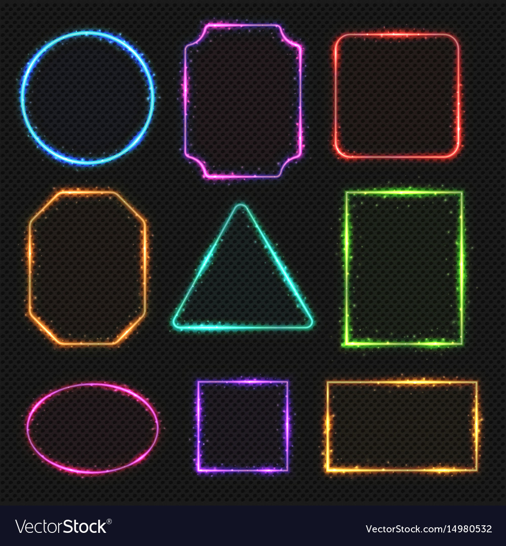 Multicolored neon border frames simple vector image