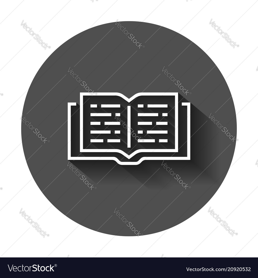 Open book icon in flat style text book with long